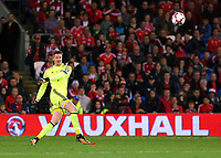 Wayne Hennesey of Wales kicks the ball forward during the FIFA World Cup Qualifier Group D match between Wales and Republic of Ireland at The Cardiff City Stadium, Wales, UK. Monday 09 October 2017