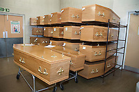 Wooden Coffins in storage