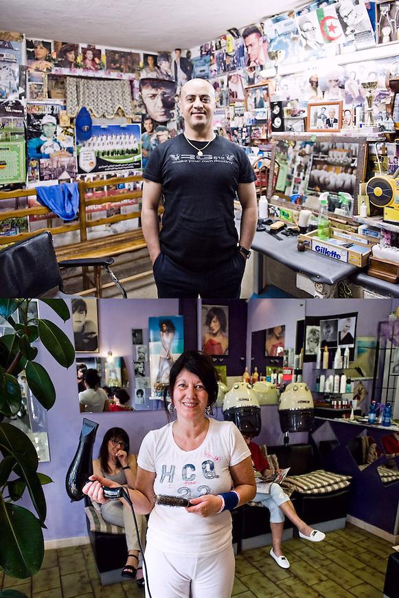 Gente di Quartiere. Larbi Chettab parrucchiere e Anna Conte pettinatrice.