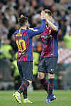 FC Barcelona's Leo Messi, Sergio Busquets celebrate victory during La Liga match. March 02,2019. (ALTERPHOTOS/Alconada)
