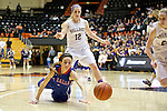 Mar 11, 2015; Portland, OR, USA; La Salle Prep forward Tori Goodman dives for a loose ball against Hermiston Bulldogs forward Abi Drotzman in the 5A Girls Basketball State Championship at Gill Coliseum.<br /> Photo by Jaime Valdez