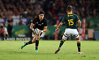 PRETORIA, SOUTH AFRICA - OCTOBER 06: Rieko Ioane of the New Zealand (All Blacks) on attack during the Rugby Championship match between South Africa Springboks and New Zealand All Blacks at Loftus Versfeld Stadium. on October 6, 2018 in Pretoria, South Africa. Photo: Steve Haag / stevehaagsports.com
