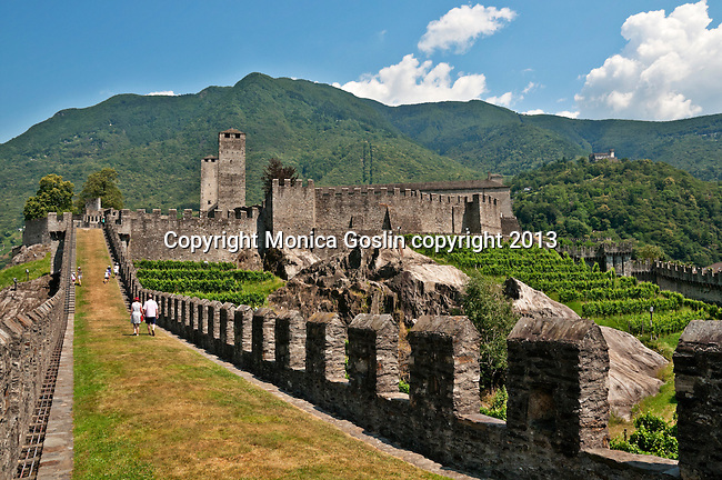 The castle wall and vineyards of Castelgrande in Bellinzona, Switzerland a town with three castles (smallest castle in the far distance on the hill)