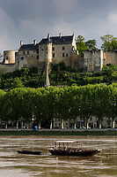 France, Indre-et-Loire (37), Vallée de la Loire classée Patrimoine Mondial de l'UNESCO, Chinon en bord de Vienne et son château médiéval // France, Indre et Loire, Loire Valley listed as World Heritage by UNESCO, Chinon on the banks of the Vienne river and its medieval castle