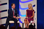 Washington, DC  - October 13, 2017: Tony Perkins, president of the Family Research Council, talks to Kellyanne Conway during the Values Voter Summit hosted by the FRC at the Omni Shoreham Hotel in Washington, D.C., October 13, 2017  (Photo by Don Baxter/Media Images International)