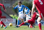 St Johnstone v Aberdeen&hellip;15.04.17     SPFL    McDiarmid Park<br />Murray Davidson is tackled by Ryan Christie on his return from injury<br />Picture by Graeme Hart.<br />Copyright Perthshire Picture Agency<br />Tel: 01738 623350  Mobile: 07990 594431