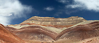 The colorful and unusual sandstone rock formations alon Caineville Mesa in Southern Utah