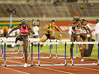 Dawn Harper(627) ran 12.78 to win the 100m hurdles at the Jamaica International Invitational Meet, while Cancice Davis(626) was 3rd. in 12.98. Photo by Errol Anderson,The Sporting Image.ner
