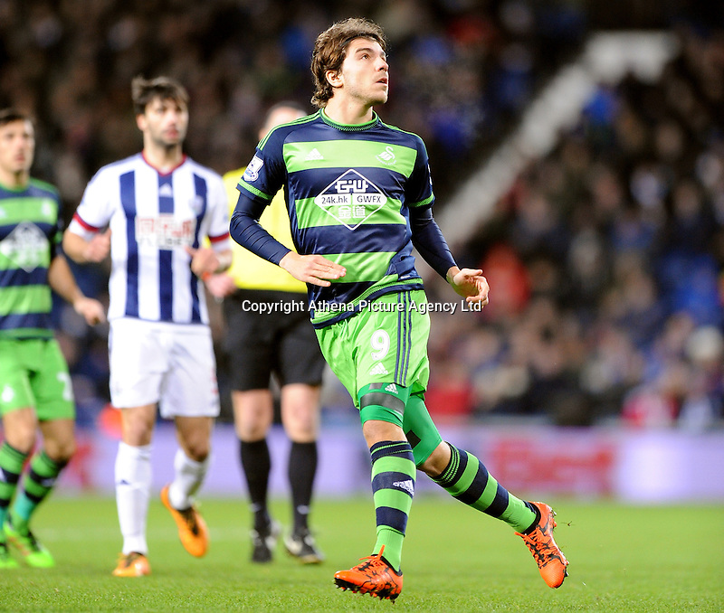Alberto Paloschi of Swansea City during the Barclays Premier League match between West Bromwich Albion and Swansea City at The Hawthorns on the 2nd of February 2016