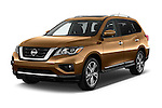 2018 Nissan Pathfinder Platinum 5 Door SUV Angular Front stock photos of front three quarter view