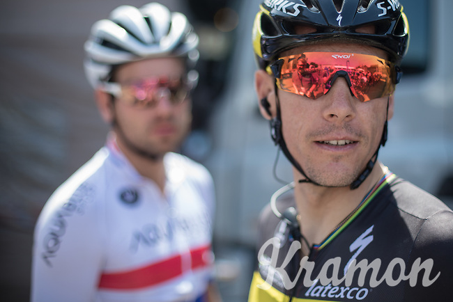 British Champion Adam Blythe (GBR/Aqua Blue) and Belgian National Champion Philippe Gilbert (BEL/Quick Step Floors) in a friendly pre race chat<br /> <br /> Baloise Belgium Tour 2017 (2.HC)<br /> Stage 5: Tienen - Tongeren 169.6km
