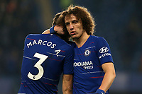 David Luiz and Marcos Alonso of Chelsea celebrate the victory after Chelsea vs Tottenham Hotspur, Premier League Football at Stamford Bridge on 27th February 2019