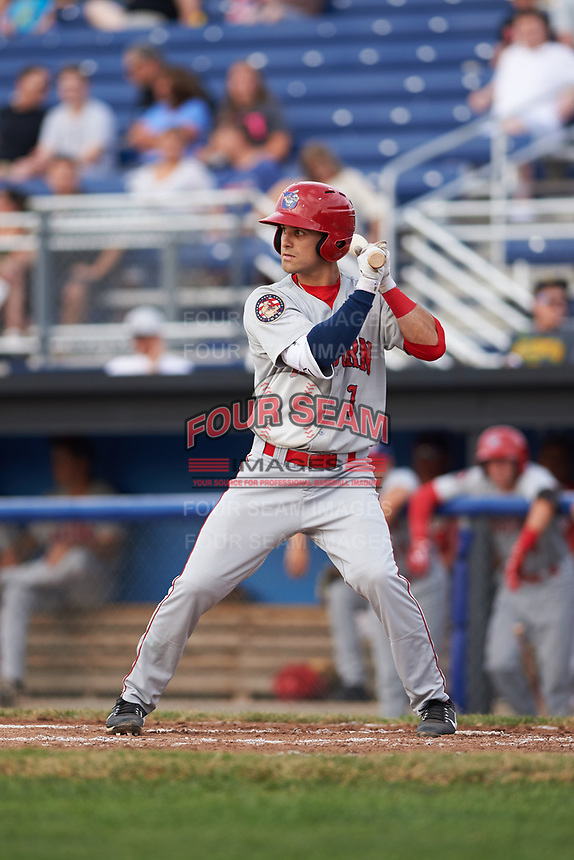 Auburn Doubledays shortstop Ryan Merrill (1) at bat during a game against the Batavia Muckdogs on July 6, 2017 at Dwyer Stadium in Batavia, New York.  Auburn defeated Batavia 4-3.  (Mike Janes/Four Seam Images)