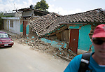 A destroyed house was damaged after a 7.4 earthquake struck Guatemala in San Marcos.