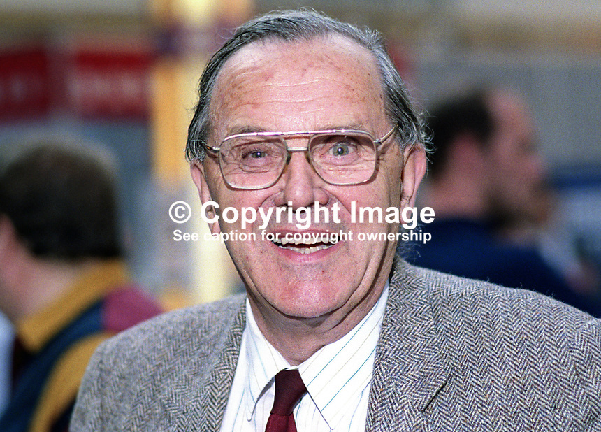 Merlyn Rees, who on retirement as a UK Labour Party MP in 1992 became Baron Merlyn-Rees of Morley and South Leeds, at his party's annual conference in Blackpool. 19921008MR.<br /> <br /> Copyright Image from Victor Patterson, 54 Dorchester Park, <br /> Belfast, UK, BT9 6RJ<br /> <br /> t1: +44 28 9066 1296 (from Rep of Ireland 048 9066 1296)<br /> t2: +44 28 9002 2446 (from Rep of Ireland 048 9002 2446)<br /> m: +44 7802 353836<br /> <br /> e1: victorpatterson@me.com<br /> e2: victorpatterson@gmail.com<br /> www.victorpatterson.com<br /> <br /> Please see my Terms and Conditions of Use at www.victorpatterson.com. It is IMPORTANT that you familiarise yourself with them.<br /> <br /> Images used on the Internet must be visibly watermarked i.e. &copy; Victor Patterson<br /> within the body of the image and copyright metadata must not be deleted. Images <br /> used on the Internet have a size restriction of 4kbs and will be chargeable at current<br />  NUJ rates unless agreed otherwise.<br /> <br /> This image is only available for the use of the download recipient i.e. television station, newspaper, magazine, book publisher, etc, and must not be passed on to any third <br /> party. It is also downloaded on condition that each and every usage is notified within 7 days to victorpatterson@me.com<br /> <br /> The right of Victor Patterson to be identified as the author is asserted in accordance with The Copyright Designs And Patents Act (1988). All moral rights are asserted.