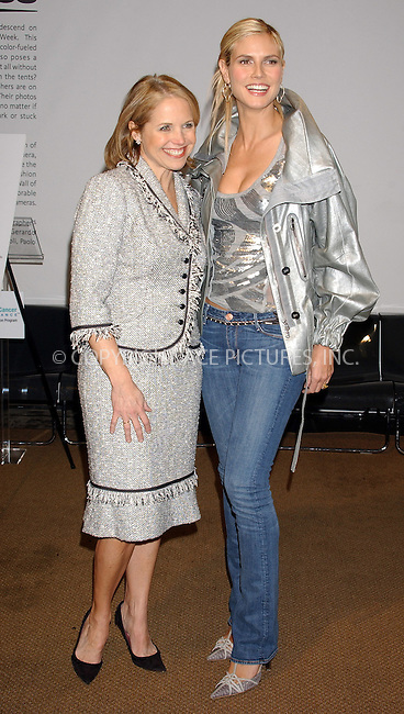 WWW.ACEPIXS.COM . . . . . ....NEW YORK, FEBRUARY 4, 2005....Katie Couric and Heidi Klum at the Olympus Fashion Week Kickoff press conference.....Please byline: KRISTIN CALLAHAN - ACE PICTURES.. . . . . . ..Ace Pictures, Inc:  ..Philip Vaughan (646) 769-0430..e-mail: info@acepixs.com..web: http://www.acepixs.com