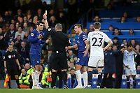 Alvaro Morata of Chelsea is shown a yellow card by referee, Kevin Friend during Chelsea vs Everton, Premier League Football at Stamford Bridge on 11th November 2018