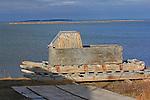 SLEDS IN KUGLUKTUK, NUNAVUT, CANADA, AND THE ARCTIC OCEAN CORONATION BAY