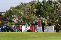 James Sugrue from Ireland on the 1st tee during Round 2 Singles of the Men's Home Internationals 2018 at Conwy Golf Club, Conwy, Wales on Thursday 13th September 2018.<br /> Picture: Thos Caffrey / Golffile<br /> <br /> All photo usage must carry mandatory copyright credit (&copy; Golffile | Thos Caffrey)