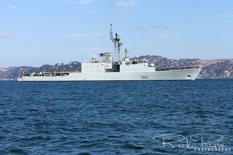 roquois-class destroyer HMCS Algonquin (DDG 283) enters San Francisco Bay in October of 2012. HMCS Algonquin was commissioned in 1973 and after a collision with another vessel the Algonquin was retired from service on September 19, 2014.