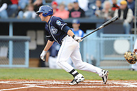 Asheville Tourists Kyle Parker #8 swings at a pitch during a game against  the Lexington Legends at McCormick Field in Asheville,  North Carolina;  April 16, 2011. Lexington defeated Aheville 13-7.  Photo By Tony Farlow/Four Seam Images