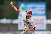 Lakewood BlueClaws starting pitcher Chris Oliver (10) delivers a pitch to the plate against the Kannapolis Intimidators at CMC-Northeast Stadium on May 16, 2015 in Kannapolis, North Carolina.  The BlueClaws defeated the Intimidators 9-7.  (Brian Westerholt/Four Seam Images)