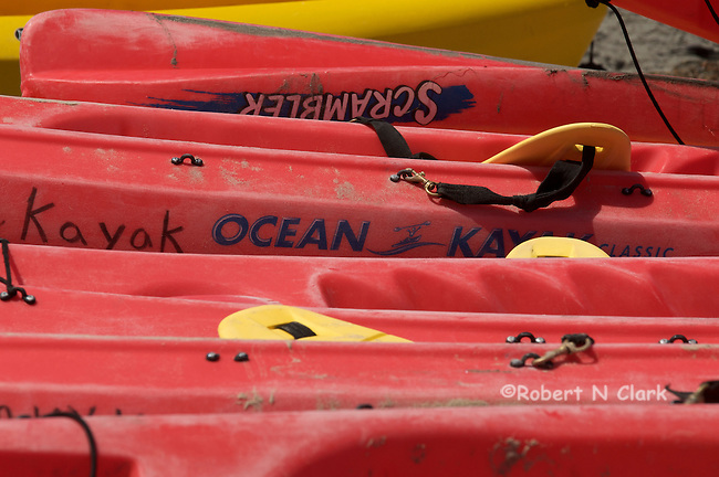 Kayaks in the rack
