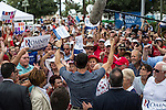Republican Vice Presidential candidate Paul Ryan (R-WI) gives a thumbs up to audience members after a campaign rally on Saturday, August 18, 2012 in The Villages, FL.
