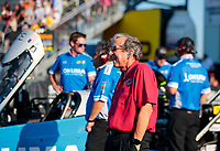 Sep 27, 2019; Madison, IL, USA; Team owner Don Schumacher watches as NHRA top fuel driver Leah Pritchett races during qualifying for the Midwest Nationals at World Wide Technology Raceway. Mandatory Credit: Mark J. Rebilas-USA TODAY Sports
