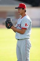 September 9 2008:  Pitcher Wang-Yi Lin of the Lowell Spinners, Class-A affiliate of the Boston Red Sox, during a game at Dwyer Stadium in Batavia, NY.  Photo by:  Mike Janes/Four Seam Images