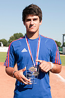 22 August 2010: Maxime Lefevre poses with the trophy of Outstanding defensive player at the 2010 European Championship, under 21, in Brno, Czech Republic.
