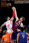 League ACB-ENDESA 2017/2018.<br /> PlayOff-Semifinal-Game: 3<br /> FC Barcelona Lassa vs Kirolbet Baskonia: 67-65.<br /> Vincent Poirier vs Ante Tomic.