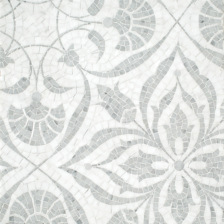 Vashti, a hand-cut stone mosaic, shown in polished Dolomite and Carrara.