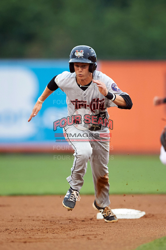 Tri-City ValleyCats outfielder Johnny Sewald (33) running the bases during a game against the Aberdeen Ironbirds on August 6, 2015 at Ripken Stadium in Aberdeen, Maryland.  Tri-City defeated Aberdeen 5-0 in a combined no-hitter.  (Mike Janes/Four Seam Images)
