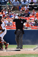 Home plate umpire Brian Peterson makes a safe call during a game between the Carolina Mudcats and Frederick Keys on April 26, 2014 at Harry Grove Stadium in Frederick, Maryland.  Carolina defeated Frederick 4-2.  (Mike Janes/Four Seam Images)