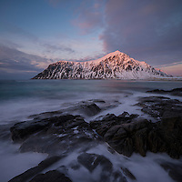 Waves was over tidal rocks at Skagsanden beach, Flakstadøy, Lofoten Islands, Norway