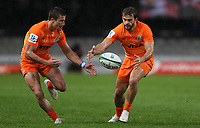 DURBAN, SOUTH AFRICA - JULY 14: Bautista Delguy and Ramiro Moyano of the Jaguares during the Super Rugby match between Cell C Sharks and Jaguares at Jonsson Kings Park on July 14, 2018 in Durban, South Africa. Photo: Steve Haag / stevehaagsports.com