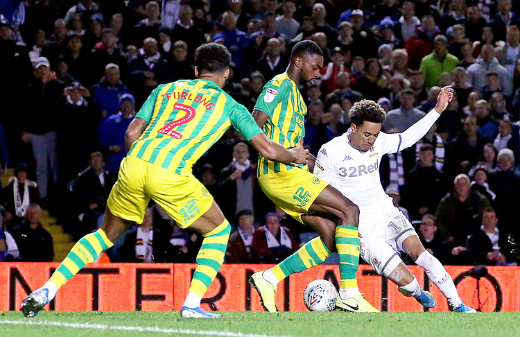 Leeds United's Helder Costa looks to run past West Bromwich Albion's Semi Ajayi<br /> <br /> Photographer Rich Linley/CameraSport<br /> <br /> The EFL Sky Bet Championship - Tuesday 1st October 2019  - Leeds United v West Bromwich Albion - Elland Road - Leeds<br /> <br /> World Copyright © 2019 CameraSport. All rights reserved. 43 Linden Ave. Countesthorpe. Leicester. England. LE8 5PG - Tel: +44 (0) 116 277 4147 - admin@camerasport.com - www.camerasport.com