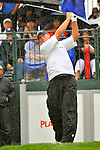 28 August 2009: Steve Stricker tees off at the 1st hole during the second round of The Barclays PGA Playoffs at Liberty National Golf Course in Jersey City, New Jersey.