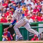 31 May 2014: Texas Rangers shortstop Elvis Andrus in action against the Washington Nationals at Nationals Park in Washington, DC. The Nationals defeated the Rangers 10-2, notching a second win of their 3-game inter-league series. Mandatory Credit: Ed Wolfstein Photo *** RAW (NEF) Image File Available ***