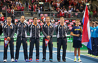 Switserland, Genève, September 18, 2015, Tennis,   Davis Cup, Switserland-Netherlands, Openings ceremony, Dutch team<br /> Photo: Tennisimages/Henk Koster