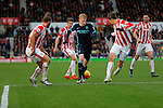 Kevin De Bruyne of Manchester City is crowded out by  the Stoke defence - Football - Barclays Premier League - Stoke City vs Manchester City - Britannia Stadium Stoke - December 5th 2015 - Season 2015/2016 - Photo Malcolm Couzens/Sportimage