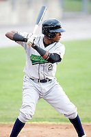 July 1, 2009:  Carlos Paulino of the Jamestown Jammers at bat during a game at Dwyer Stadium in Batavia, NY.  The Jammers are the NY-Penn League Short-Season Class-A affiliate of the Florida Marlins.  Photo by:  Mike Janes/Four Seam Images