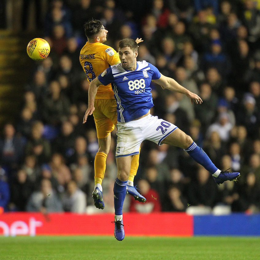 Preston North End's Alan Browne jumps with Birmingham City's Gary Gardner <br /> <br /> Photographer Mick Walker/CameraSport<br /> <br /> The EFL Sky Bet Championship - Birmingham City v Preston North End - Saturday 1st December 2018 - St Andrew's - Birmingham<br /> <br /> World Copyright © 2018 CameraSport. All rights reserved. 43 Linden Ave. Countesthorpe. Leicester. England. LE8 5PG - Tel: +44 (0) 116 277 4147 - admin@camerasport.com - www.camerasport.com