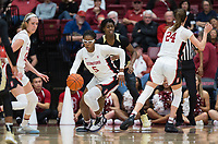Stanford, CA - January 24, 2020: Francesca Belibi, Lacie Hull at Maples Pavilion. The Stanford Cardinal defeated the Colorado Buffaloes in overtime, 76-68.