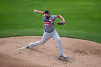 Pawtucket Red Sox pitcher Mike Shawaryn (21) during an International League game against the Buffalo Bisons on August 25, 2019 at Sahlen Field in Buffalo, New York.  Buffalo defeated Pawtucket 5-4 in 11 innings.  (Mike Janes/Four Seam Images)