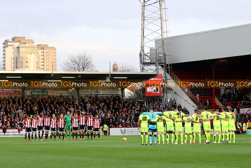A minute's silence was held as a mark of respect for Jimmy Hill who died earlier today during Brentford vs Huddersfield Town, Sky Bet Championship Football at Griffin Park, London, England on 19/12/2015