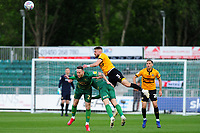 Gethin Jones of Mansfield Town vies for possession with Dan Butler of Newport County during the Sky Bet League Two Play-off Semi Final: First Leg match between Newport County and Mansfield Town at Rodney Parade in Newport, Wales, UK.  Thursday 09 May 2019