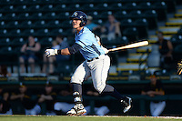 Charlotte Stone Crabs first baseman Jake Bauers (23) at bat during a game against the Bradenton Marauders on April 22, 2015 at McKechnie Field in Bradenton, Florida.  Bradenton defeated Charlotte 7-6.  (Mike Janes/Four Seam Images)