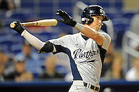 7 March 2012:  FIU outfielder Nathan Burns (6) bats as the Miami Marlins defeated the FIU Golden Panthers, 5-1, at Marlins Park in Miami, Florida.